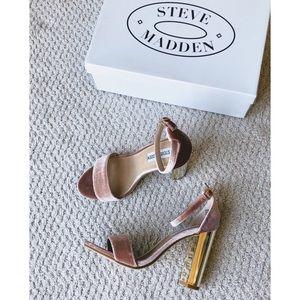 Steve Madden Shoes - Steve Madden Blush Pink + Gold Velvet Sandals